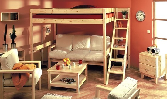 Patrová postel přírodní 90 nebo 140 s policovými schody. Gazel