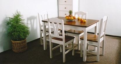Dřevěný jídelní stůl bílo-hnědý Gazel