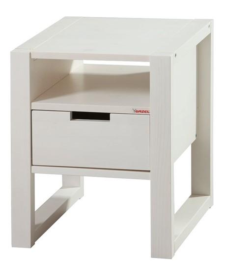 Dřevěný noční stolek k bílým postelím Rhino. Gazel