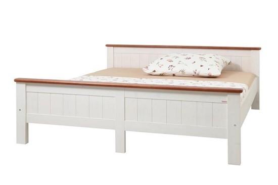 Manželská postel v bílo-hnědém provedení, dvoulůžko Gazel.