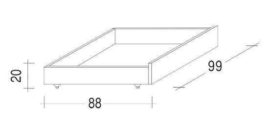 Úložný prostor pod postele poloviční bukový. Gazel