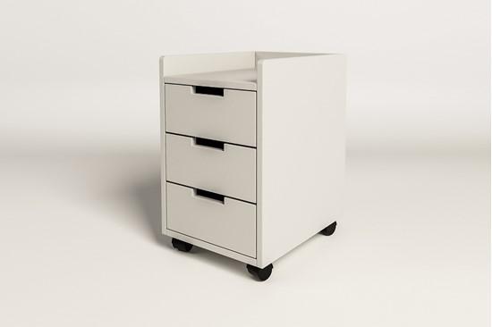 Dřevěný bílý kontejner k psacímu stolu Mario