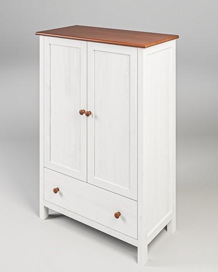 Dřevěný prádelník v bílo-hnědém provedení. Gazel